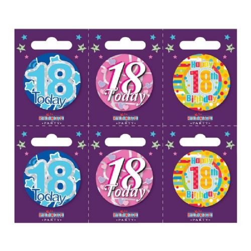 Age 18 Small Badges (6 assorted per perforated card) (5.5cm)